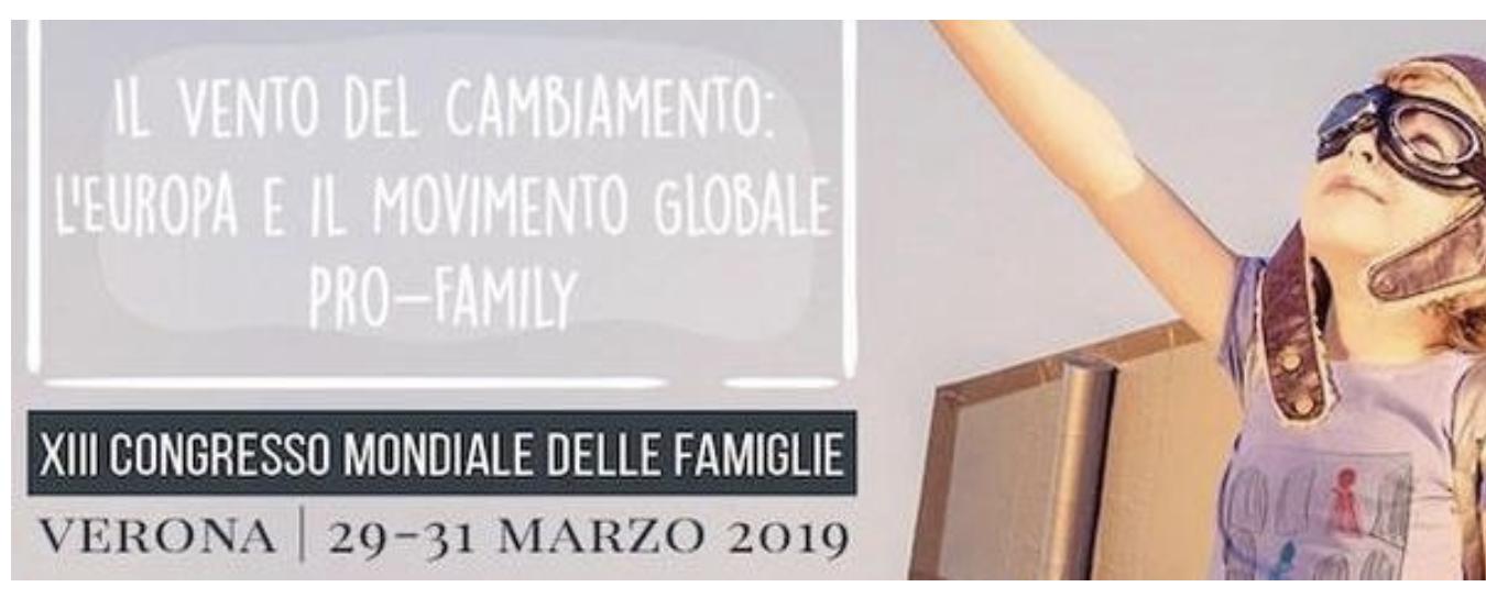 Il manifesto del XIII Congresso mondiale delle famiglie che si terrà a Verona dal 29 al 31 marzo